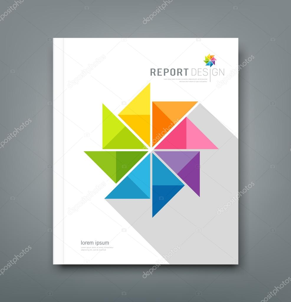 cover annual report colorful windmill origami paper design cover annual report colorful windmill origami paper design stock illustration