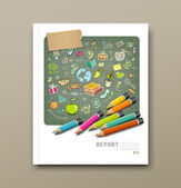 Cover report sketch hand drawn education icons — Stockvektor
