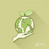 Globe in hand save the earth concept design — Stockvektor