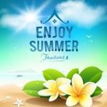 Plumeria flowers, enjoy summer greeting card on beach Thailand — Stock Vector #51628791