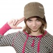 Girl in kepi - Stock Photo