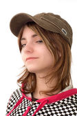 Young wiman in kepi — Stock Photo