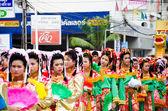 Thai Chinese Monks parade. — Stock Photo