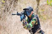 Practicing Airsoft Gun — Stock Photo