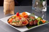 Sausage and Thai Som Tum Salad — Stock Photo