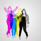 Fun Party Girl CMYK Abstract — Stock Photo