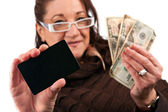 Woman Holding Cash and Credit Card — Stock Photo