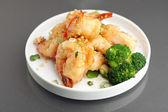 Fried Honey Shrimp with Broccoli — Stock Photo