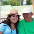 Hispanic Woman with Her Grandfather — Stock Photo