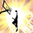 Stock Photo: Fiery Basketball Slam Dunk