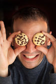 Man with Cookie Eyes — Stock Photo