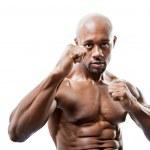Muscular Man Fists Up — Stockfoto