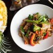 Drunken Noodle and Pineapple Fried Rice — Stock Photo