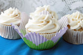 Frosted Vanilla Cupcakes — Stock Photo