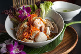Thai Seafood Som Tum Salad with Soup — Stock Photo