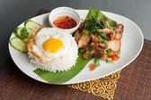 Thai Crispy Pork with Fried Egg — Stock Photo