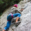 Stock Photo: Young female climber