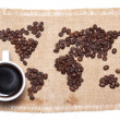 Coffee map on hessian background — Stock Photo