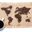 Stock Photo: Coffee map on hessibackground with white cup
