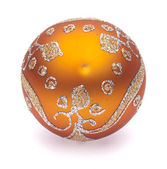 Orange christmas ball on white background — Stock fotografie