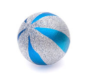 Blue-silver christmas ball on white background — Foto de Stock