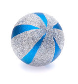 Blue-silver christmas ball on white background — Stock Photo