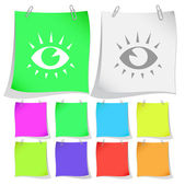 Eyes. Vector note papers. — Stock Vector