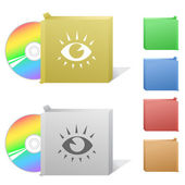 Eyes. Box with compac.t disc — Stock Vector