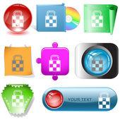 Bag. Vector internet buttons. — Stock Vector