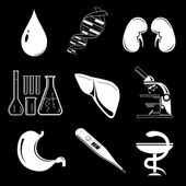 Raster icons of medical elements — Stock Vector