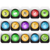 Vector conjunto de botões de internet — Vetor de Stock