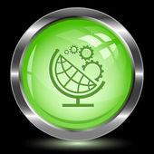 Globe and gear. Internet button — Stock Vector