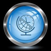 Globe and clock. Internet button — Stock Vector