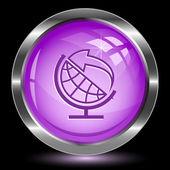 Globo e freccia. pulsante di Internet — Vettoriale Stock