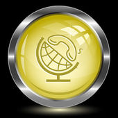 Globe and phone. Internet button — Vecteur