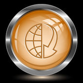 Globe and array down. Internet button — Stock Vector