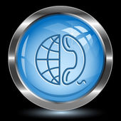 Globe and phone. Internet button — Vector de stock
