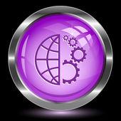 Globo e attrezzi. pulsante di internet — Vettoriale Stock