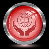 Protection world. Internet button — Stock Vector