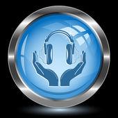 Hoofdtelefoon in handen. internet knop — Stockvector