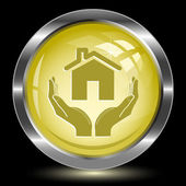Home in hands. Internet button — Stock Vector