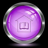 Bibliotheek. internet knop — Stockvector