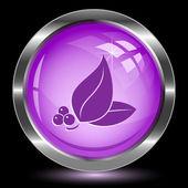 Leaf. Internet button — Stock Vector