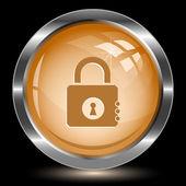 Closed lock. Internet button — Stock Vector