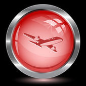 Airliner. Internet button — Stock Vector