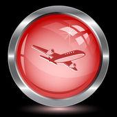 Avión de pasajeros. botón de internet — Vector de stock