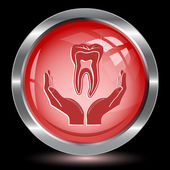 Health in hands. Internet button — Stockvector