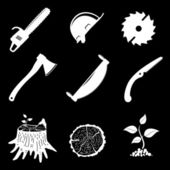 Set of icons. woodworking industry. vector illustration. — Stock Vector