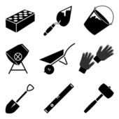 Monochrome vector icon set of building implements — Stock Vector