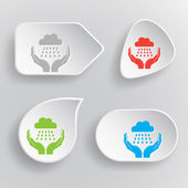 Weather in hands. White flat vector buttons on gray background. — Stock Vector